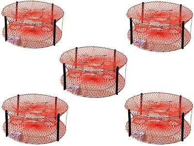 5 x Wilson Heavy Duty Round Crab Traps - Bulk Pack of 4 Entry Crab Pots - 24 Ply