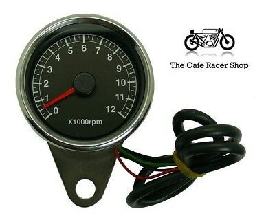 Chrome 60mm tachometer. Electronic to suit cafe racers and bobbers