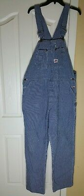 Vtg ROUND HOUSE Striped Denim Conductor Engineer Overalls Mens 42x34 USA Made