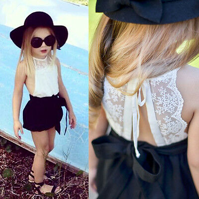 Summer Kids Baby Girls Lace Floral Rompers Jumpsuit One-Piece Short Pant Clothes
