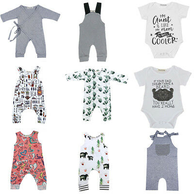 UK STOCK Newborn Infant Baby Boy Girl Bodysuit Romper Jumpsuit Outfits Clothes