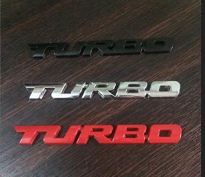Red, Black Or Silver 3D Metal Turbo Logo Trunk Rear Emblem Badge Self Adhesive