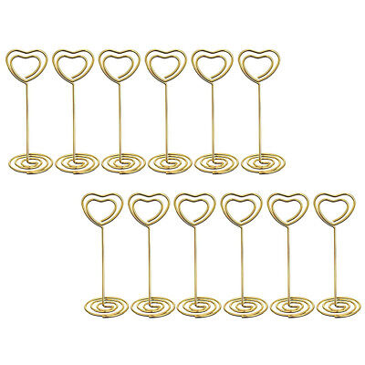 12pcs Wedding Heart Photo Holder Stands Table Number Paper Menu Place Card Clips