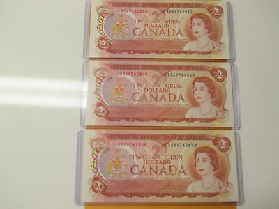 Lot Of 3 1974 $2 Consecutive Bank Of  Canada Unc