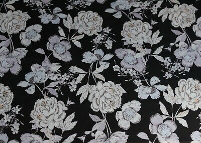 Muted Winter Floral Print Soft Chiffon Dress Fabric Material (Black)