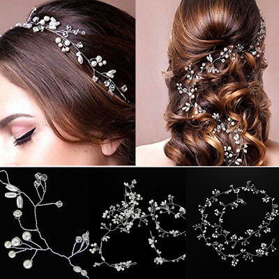 Pearls Wedding Hair Vine Crystal Bridal Accessories Diamante Headpiece 100cm