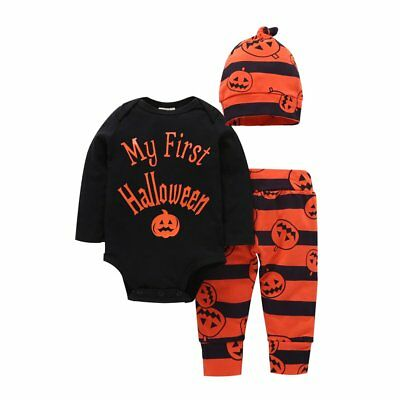 3PCS Pumpkin Newborn Baby Boy Girl Romper Tops Long Pants Hat Outfit Clothes Set