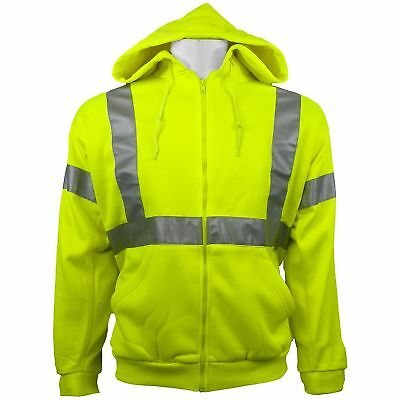 Hi Vis Yellow Hooded Sweatshirt, Class 3 Safety Hoodie, Size 3X, 4X & 5X GLO-HS1