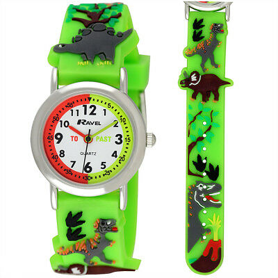 Ravel Small Childs Kids Dinosaur Time Teacher Watch, Green 3D Silicone Strap