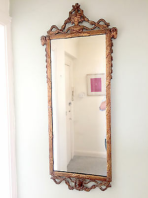 Georgian Gilt and Gesso Pier Mirror with Rams Heads