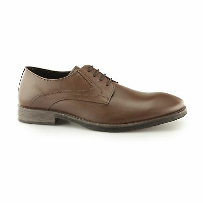 Hush Puppies CARLOS LUGANDA Mens Leather Lace Up Smart-Casual Derby Shoes Brown