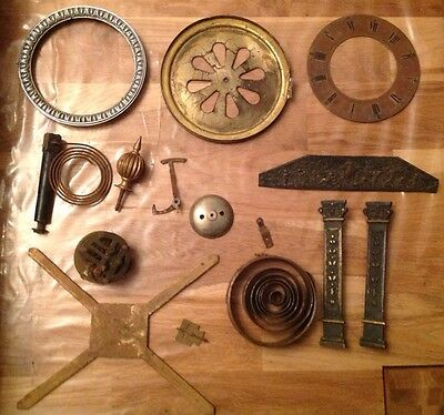 Antique Chime Bell Clock Spare Parts Bronze Columns Bezel Finial