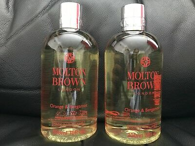Molton Brown 2 x 300ml Orange & Bergamot Body Wash Shower Gel NEW **LOOK**