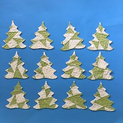 12 Xmas Tree Die cut outs Antique cutter quilt Ornament Shabby BrightGreen Cream