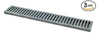 """(3-Pack)  NDS 241-1 Spee-D Channel Drain Grate, Grey  24"""" L x 4.13"""" W"""