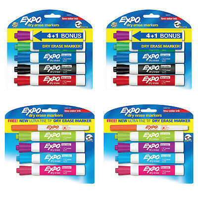 Expo Low Odor Dry Erase Markers, Chisel, Assorted Colors, Pack of 18 + 2 Bonus
