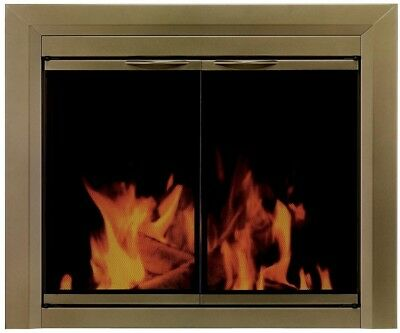 Cahill Large Glass Fireplace Doors Powder Coated Antique Brass Finish New Best