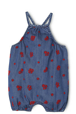 NEW Jack & Milly Pippi Strappy Full Shortall-Red Emroidery On Chambray Blue
