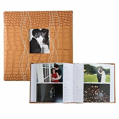 Profolio Photo Albums 200-Pocket Sewn Leatherette Frame Cover Album Medium Brown
