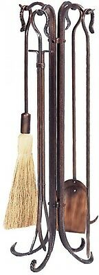 Antique Copper 5 Piece Fireplace Tool Set Crook Handles Hammered Finish New