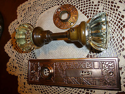 Fancy Art Deco/Eastlake cast brass door plate rosette 12 PT glass knobs- SET #44