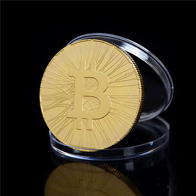 1PC Gold-plated FIRST BITCOIN ATM Commemorative Coin Collection Gift S6
