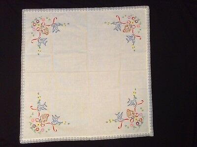 "Pretty NWOT Hand-embroidered BLUEBIRD TABLECLOTH TEACLOTH 33x33"" Lace trim"