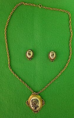 60's Florenza Signed Victorian Gold Tone Relief Cameo Pendant Necklace /Earrings