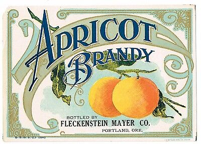 Genuine C1900 Apricot Brandy Label Fleckenstein Mayer Portland Oregon Antique