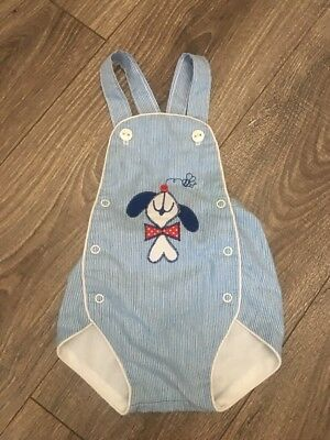 Baby Boys Health-Tex Vintage Romper Jumpsuit Blue Pinstripe Puppy Dog 9 Months