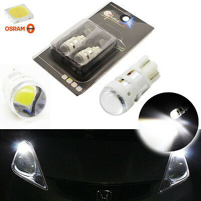 2x Cool White T10 W5W 2825 LED Bulbs For Parking City Lights (Powered By Osram)