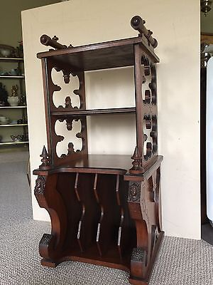 "Antique European Carved Wooden Magazine Rack, 40"" Tall x 19"" Wide x 17"" Deep"