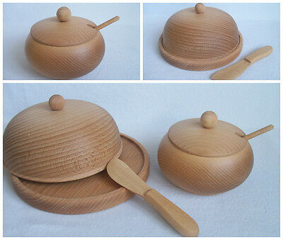 Wooden Butter Dish with Knife / Sugar Bowl with Spoon
