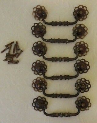 Lot of 6 Vintage Brass? Metal Drawer Pulls Cabinet Dresser Door Handles w Screws