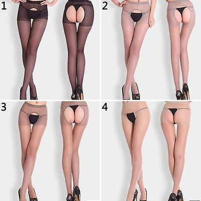 KQ_ Women Sexy Open Crotch Crotchless Sheer Pantyhose Socks Stockings Tights Nif