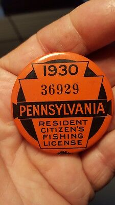 Antique 1930 Pa. Pennsylvania Resident Fishing License Button With Paperwork