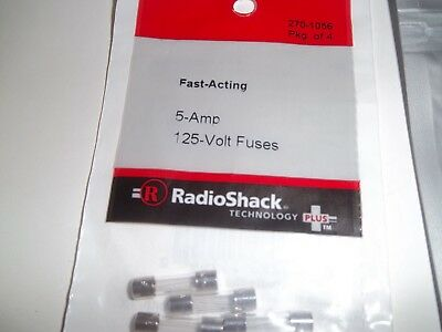 Radio Shack 270-1056 5 Amp 125 Volt Fast-Acting Fuses 5×20mm (pkg-of-4)