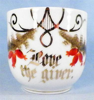 Antique Love The Giver Mug Cup Porcelain Bleeding Heart Flowers Victorian
