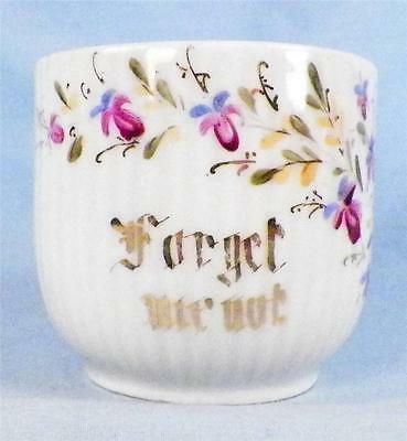 Antique Forget Me Not Mug Cup Porcelain Purple Blue Flowers Gold Victorian