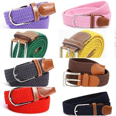 Fashion Unisex Casual Woven Canvas Elastic Stretch Pin Buckle Belt for Men Women