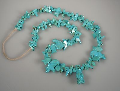 Vintage Native American Carved Turquoise Fetish Necklace