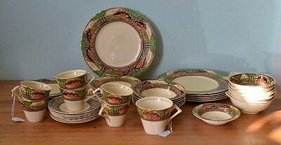 Art Deco Myott & Son Hanley dinner set Country side teacups plates fine china 45