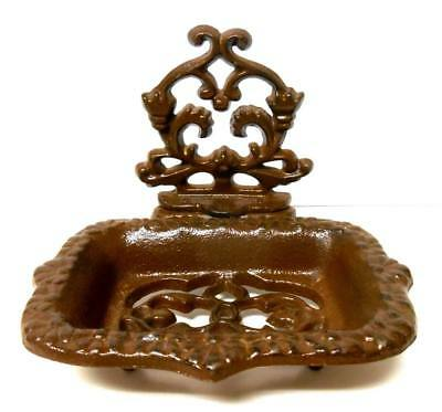 French Country CAST IRON SOAP DISH - Rustic Brown - Vintage Style