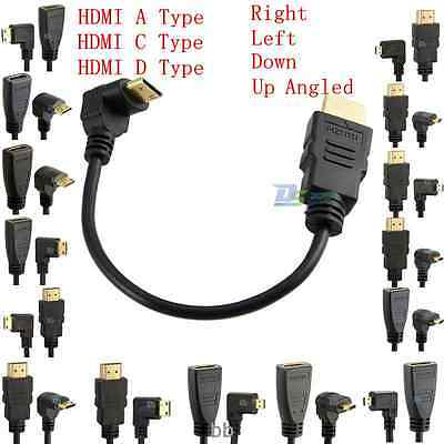 1080P HDMI A F/M to Up Down Left Right Angled Mini/Micro HDMI Male Cable Quality