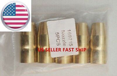5 Plug-in Gas Nozzles 169715 for Miller M-10/M-15/M-100/M-150,Hobart H-10,H-14