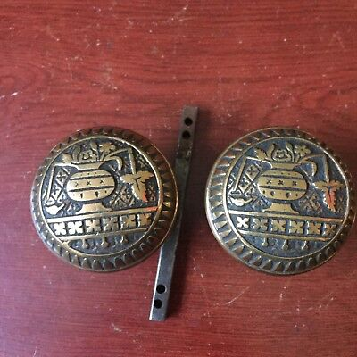 Ornate Victorian Brass Pair Of DoorKnob Broken Leaf PatternVintage Door Hardware