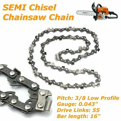 "16"" Chain for Most Stihl Chainsaw Bar 3/8 Pitch 0.5 Gauge 55 Drivers SEMI Chisel"