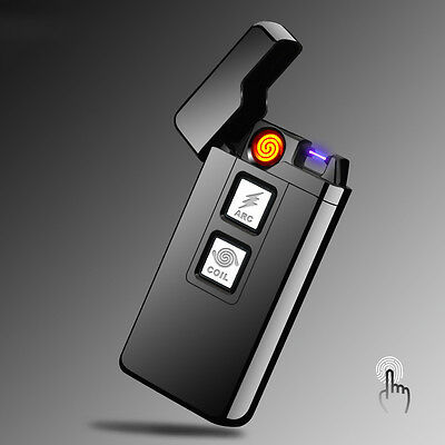 Electric USB Rechargeable Lighter Cigarette Coil&Arc Plasma Windproof Flameless