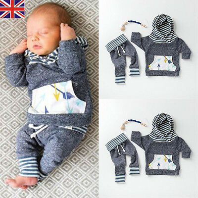 UK Stock Baby Boys Clothes Hooded Tops Pants Infant Outfits Sets Tracksuit
