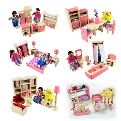 Wooden Furniture 6 Room Set Dolls House Family Miniature Kids Children Play Toy